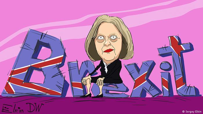 Theresa May Sitting on Brexit Cartoon