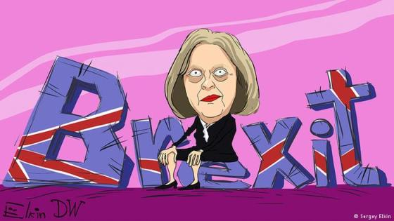 Theresa May Sitting on Brexit Cartoon